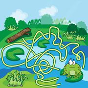 Frogs Maze Game - stock illustration