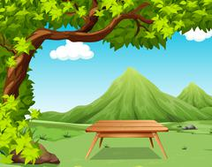 Nature scene with picnic table in the park - stock illustration
