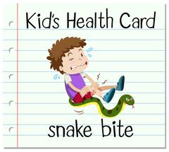 Health card with boy and snake bite - stock illustration