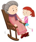 Grandmother on the rocking chair and girl - stock illustration
