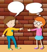 Boy and girl playing rock scissors paper Stock Illustration