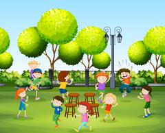 Children playing music chair in the park Stock Illustration