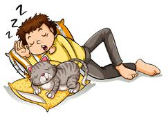 Man taking nap with pet cat Stock Illustration