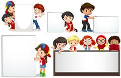 Boys and girls with whiteboard - stock illustration