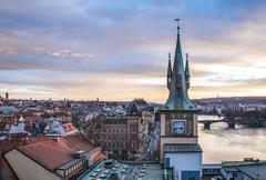 View from the top of the Charles bridge tower over the old town - stock photo