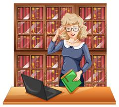 Woman with glasses in the library - stock illustration
