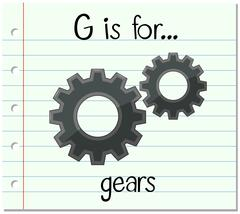 Flashcard letter G is for gears Stock Illustration
