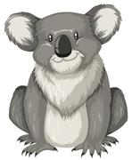 Cute koala sitting alone - stock illustration
