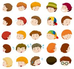 Boys with different emotions - stock illustration