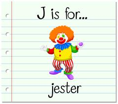 Flashcard letter J is for jester Stock Illustration