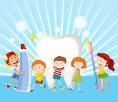 Children and clean tooth - stock illustration