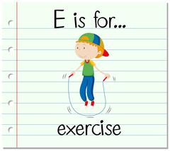 Flashcard letter E is for exercise - stock illustration