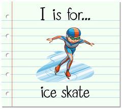 Flashcard letter I is for ice skate - stock illustration