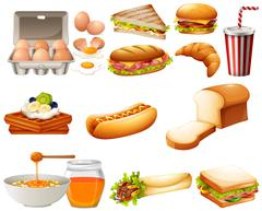 Food set with different kind of meals Stock Illustration