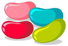 Jelly beans in four colors - stock illustration