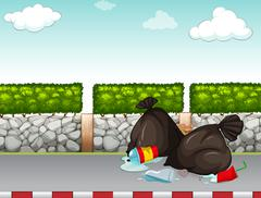 Garbage bags on the pavement Stock Illustration