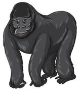 Gorilla with happy face - stock illustration