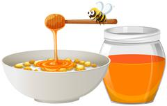 Cereal with honey in bowl - stock illustration