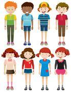 Boys and girls smiling - stock illustration