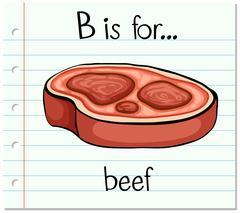 Flashcard alphabet B is for beef - stock illustration