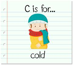 Flashcard letter C is for cold - stock illustration