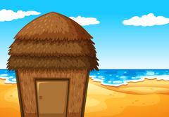 Nature scene with bungalow on the beach - stock illustration