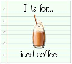 Flashcard alphabet I is for iced coffee - stock illustration