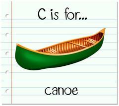 Flashcard letter C is for canoe - stock illustration