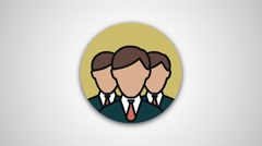 4K - Group round icon symbol logo - stock footage