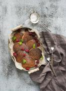 Breakfast set. Homemade buckwheat pancakes with fresh raspberry in  serving t Stock Photos