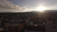 Aerial Panoramic shot of churc. Ecuador. Stock Footage