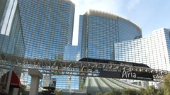 The Aria Resort And Casino With Express Tram Stock Footage