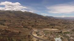 Otavalo. Ecuador. Aerial shot. Farms. Lake. Stock Footage