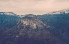 View over misty montain rock in the Moraca river canyon, north Montenegro Stock Photos