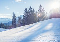 Mountain skiing slope in Garmisch-Partenkirchen resort  in Bavar Stock Photos