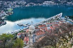 Stock Photo of The view over the town of Kotor, Montenegro, the old chapel, the