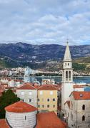 The view over the old town center of Budva, Montenegro, the chap - stock photo