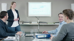 Businesswoman presenting success at meeting Stock Footage