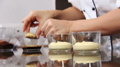 Cooking tiramisù, typical italian creamy dessert with cream, coffee, chocolate Stock Footage