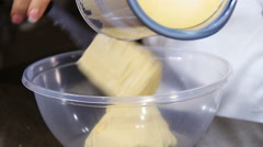 Remove the dough for a cake from the electric blender: make a cake Stock Footage