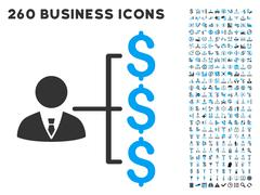 Banker Payments Icon with Flat Vector Set Stock Illustration