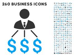 Businessman Expenses Icon with Flat Vector Set Stock Illustration