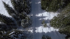 Aerial, vertical - Rotating above empty, snowy road in forest Stock Footage