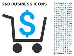 Checkout Icon with Flat Vector Set - stock illustration