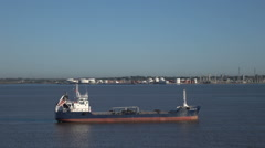 OW Baltic oil products tanker ship in port of Montevideo, Uruguay Stock Footage