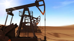 Flight Through the working Oil Pump Jacks in the desert. Stock Footage