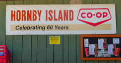 4K Co-Op Store Sign, Hornby Island, British Columbia Canada Stock Footage