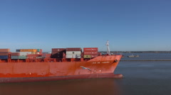 Container ship enters Montevideo harbour, Uruguay Stock Footage