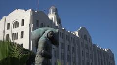 Al Estibador sculpture at old port building, Montevideo, Uruguay Stock Footage