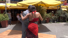 Two people dance Tango, Montevideo old historic town, Uruguay Stock Footage